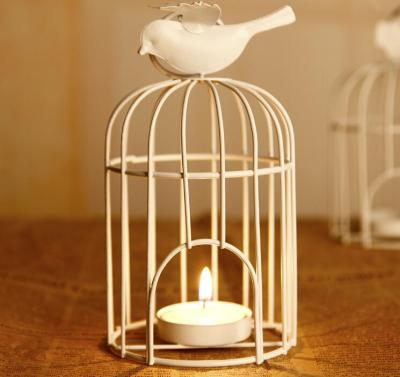 Bird Fly Cage White Retro Metal Vintage Candle Hanging Holder Home Lantern Decor