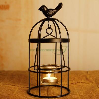 Black Bird Bell Cage Retro Metal Vintage Glass Candle Holder Home Lantern Decors