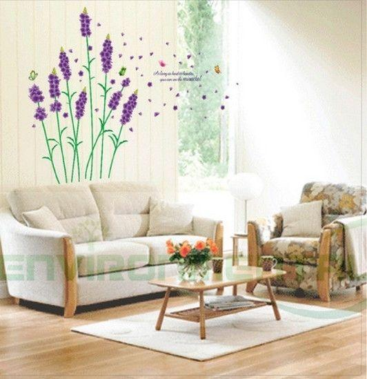Purple Pollen Removable Wall Art Decal Sticker Diy Home: Purple Hyacinth 55*39in Home DIY Wall Art Stickers Decor